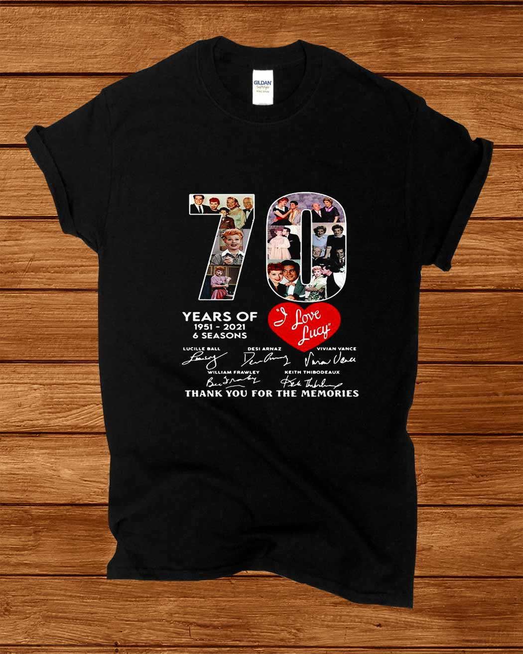 70 Years Of 1951 2021 6 Seasons I Love Lucy Thank You For The Memories Signatures Shirt