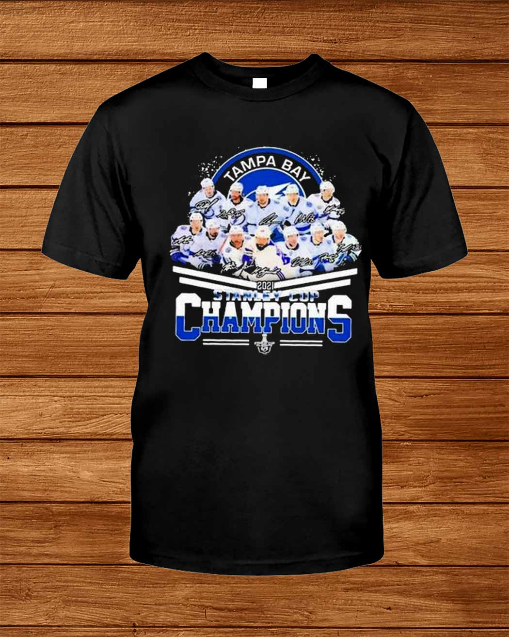 Tampa Bay Lightning 2021 Stanley Cup Champion Signatures Shirt
