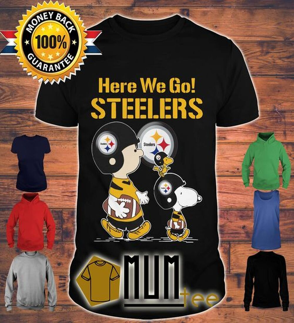 (Fast Shipping) Here We Go Steelers Charlie Brown And Snoopy Shirt, Tank Top, V-neck, Sweater And Hoodie • MUMtee