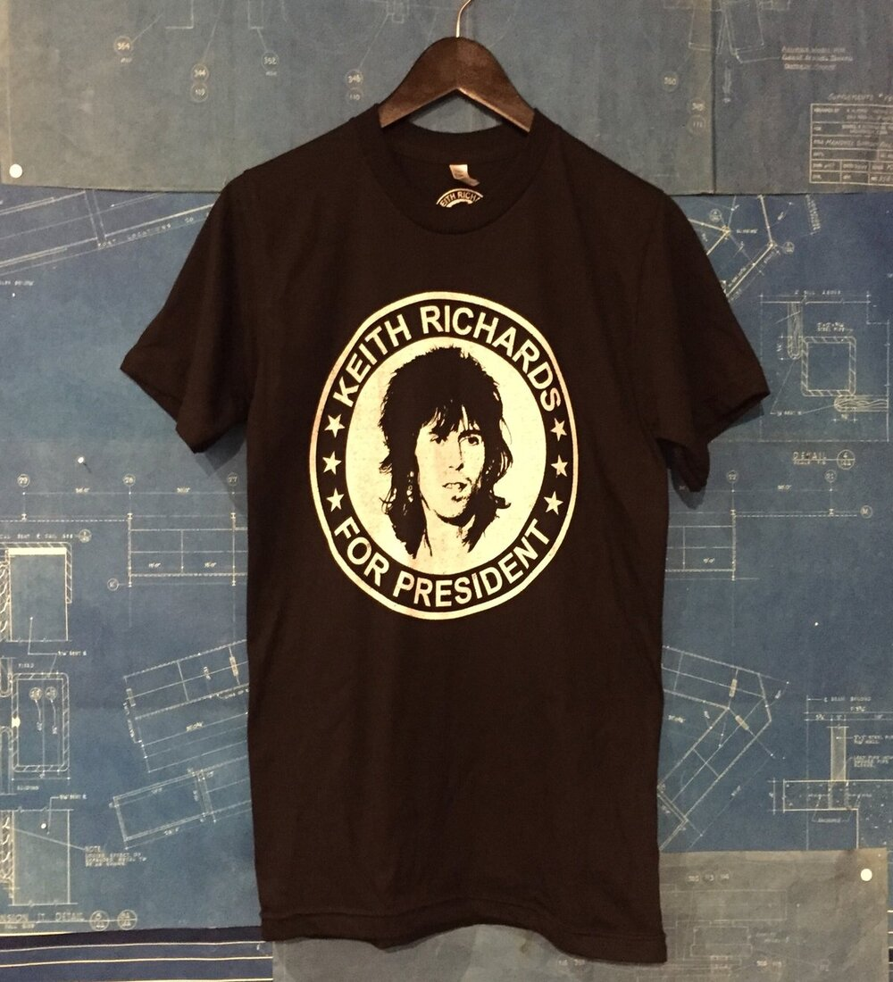 A KEITH RICHARDS FOR PRESIDENT TSY TEE T-SHIRT, BLACK