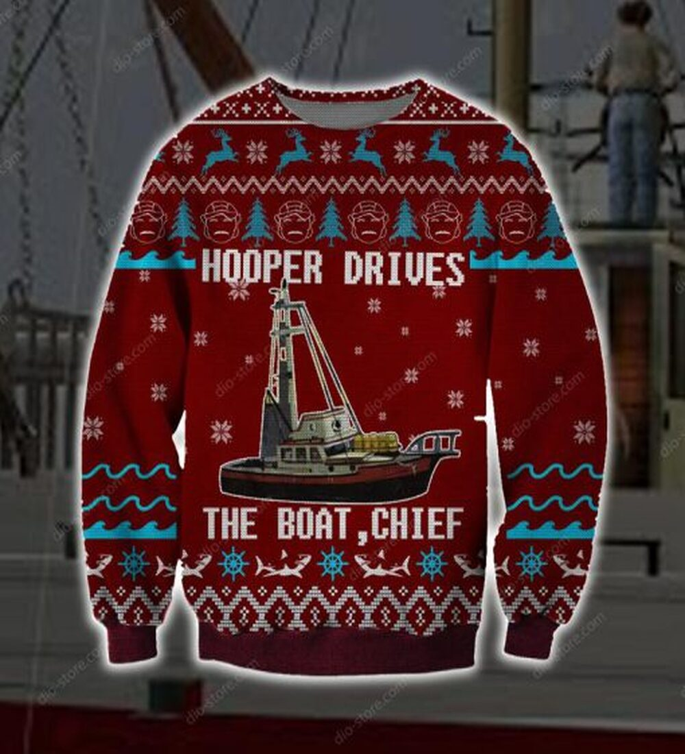 [High Quality] Hooper Drives The Boat Chief Full Printing Ugly Christmas Sweater
